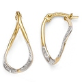 10k Gold with White Rhodium-plated Polished & Diamond Cut Oval Hoop Earrings - Thumbnail 0