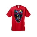 Men's T-Shirt Splattered Paint Colorful Skull W/ Shades Skeleton Graphic Tee - Thumbnail 2