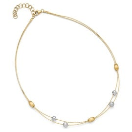 Italian 14k Two-Tone Gold Polished and Brushed Necklace with 2in ext - 16.5 inches