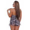 Women's 2-Piece Camo Bikini Green True Timber Tankini Top & String Shorts Beach Swimwear Swimsuit - Thumbnail 3