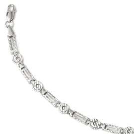 14k White Gold Diamond Cut Bracelet - 7 inches