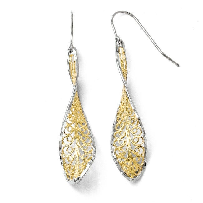 10k Gold with Rhodium-plated Diamond Cut Dangle Shepherd Hook Earrings