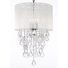 Crystal Chandelier Lighting With Large White Shade H24 x W15