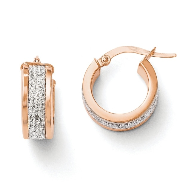 Italian 14k Rose Gold Glimmer Infused Hinged Hoop Earrings