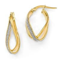 Italian 14k Gold Glimmer Infused Twisted Hoop Earrings