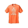 MEN'S SMOKING FUNNY T-SHIRT Keep Calm & Stay Stoned MARIJUANA POT WEED GO GREEN - Thumbnail 4