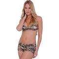 Women's Camo 2-Piece Bikini Bathing suit Halter Top & Hot Shorts Beach Swimwear - Thumbnail 0