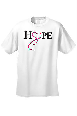 UNISEX T-SHIRT 'Hope & Love' SUPPORT BREAST CANCER AWARENESS PINK RIBBON
