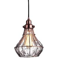 Antique copper cracked glass vintage industrial ceiling lamp light