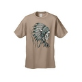 Men's T-Shirt Native Chief Skull Graphic Tee Indian American Feathers Bones - Thumbnail 2