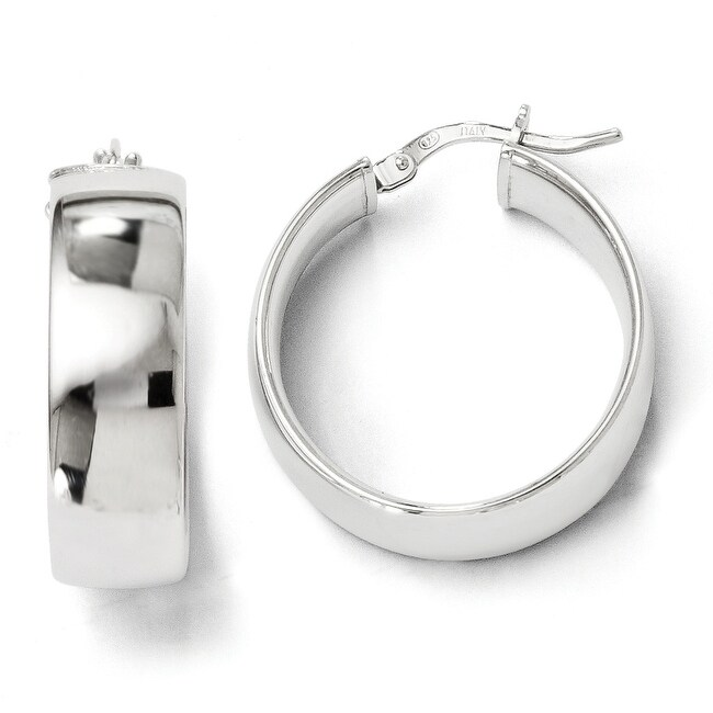 Italian Sterling Silver Polished Hinged Hoop Earrings