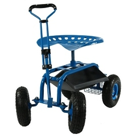 Sunnydaze Rolling Garden Cart with Extendable Steering Handle