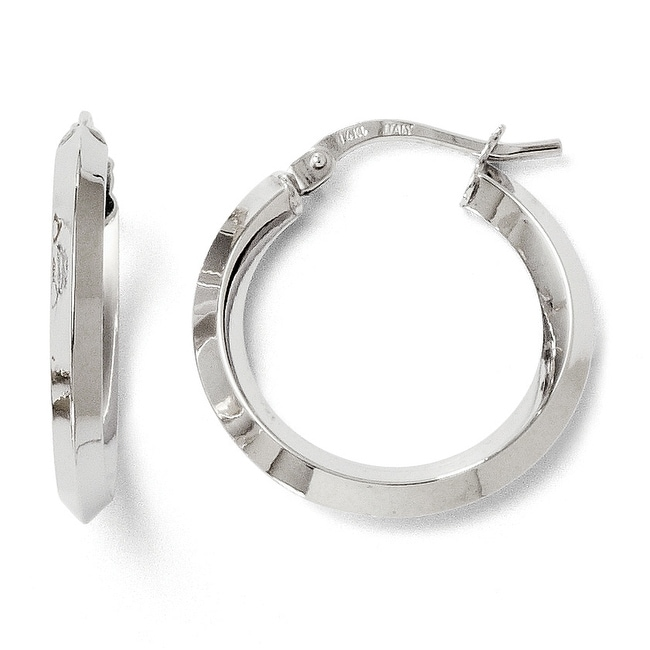 Italian 14k White Gold Polished Hoop Earrings