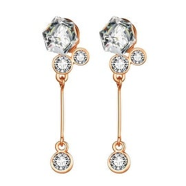 18K Rose Gold Singular Drop Earrings with Swarovski Elements