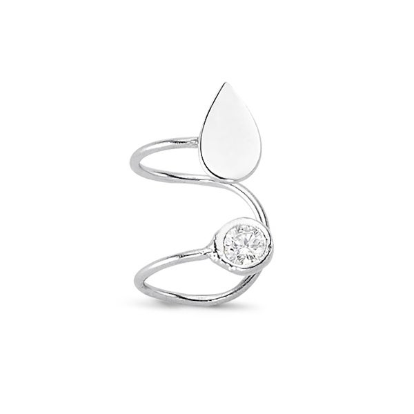 Amorium Tear Drop Cartilage Ear Cuff in Sterling Silver