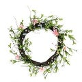 "15"" Green  Pink and Purple Decorative Artificial Spring Floral Twig Wreath - Unlit - Thumbnail 0"