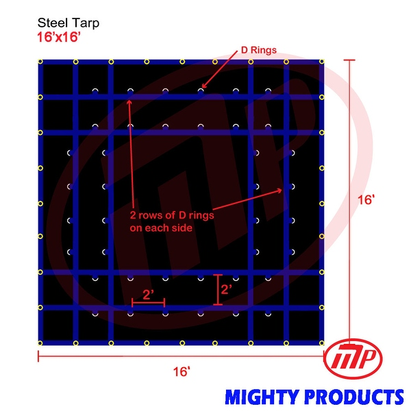 Xtarps - 16' x 16' Flatbed Truck Tarp - Light Weight Steel Tarp