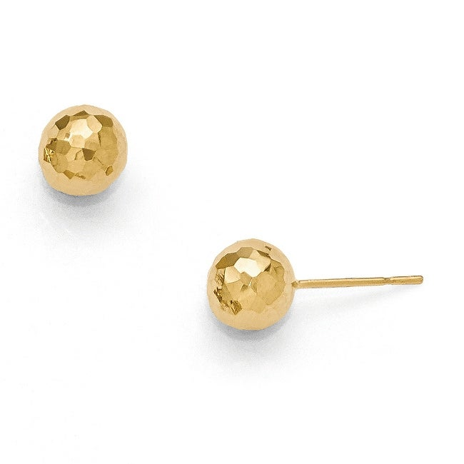 14k Gold Polished Faceted Post Earrings
