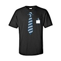 MEN'S BLACK TUXEDO T-SHIRT BLUE TIE COLLAR FRONT POCKET PENS S-XL 2X 3X 4X 5X - Thumbnail 5