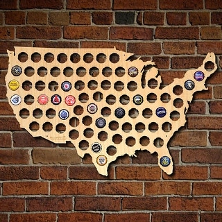Beer Cap Map of USA Wall Art - Bottle Cap Holder, Large