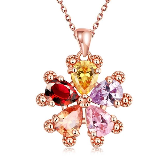 Rose Gold Plated Rainbow Crystal Snowflake Bridal Necklace