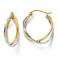 14k Two-Tone Gold Polished Hinged Earrings
