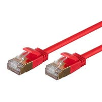 SlimRun Cat6A Ethernet Patch Cable RJ45 Stranded STP Copper Wire 36AWG 2ft Red