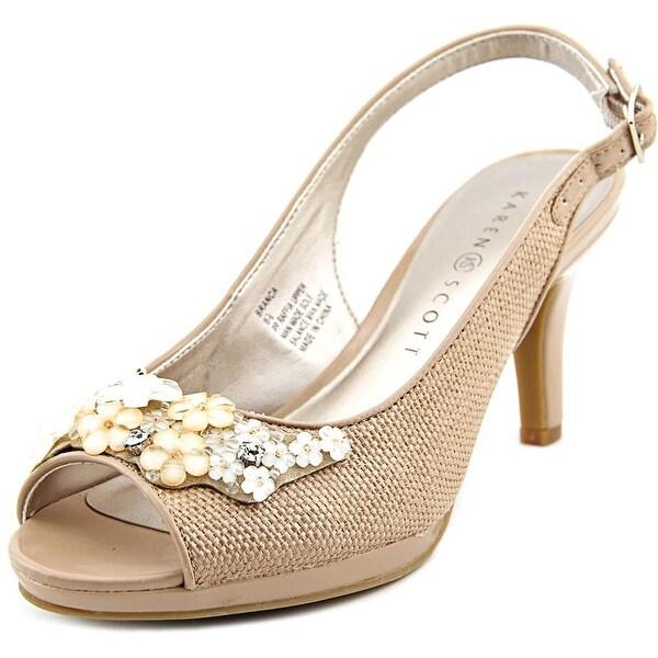 Karen Scott Branca Women Peep-Toe Canvas Slingback Heel