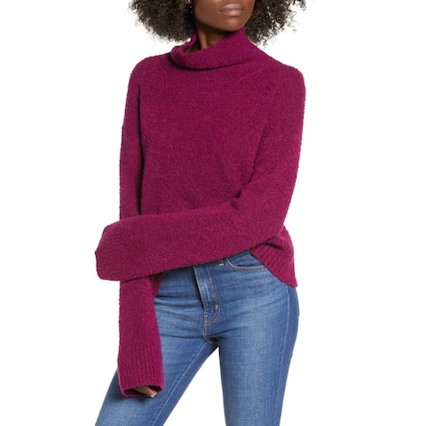Leith Purple Magenta Womens Size XL Boucle Knit Mock Neck Sweater