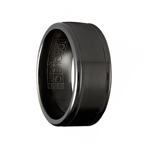 SEPHIROTH Torque Black Cobalt Flat Wedding Band Brushed Finish with Polished Round Edges by Crown Ring - 9 mm