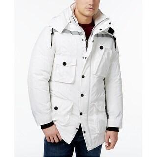DKNY NEW White Reflective Mens Size Large L Multi Pocket Parka Jacket
