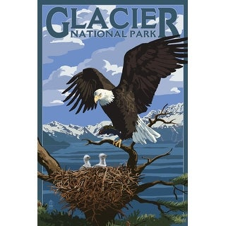 Glacier Park, MT - Eagle with Chicks - LP Artwork (100% Canvas Tote Bag Gusset
