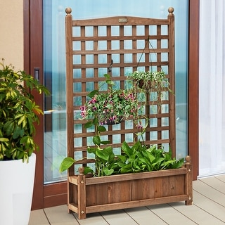 Link to Patio Wooden Plant Box Flower Plant Growing Box Holder with Trellis Similar Items in Planters, Hangers & Stands
