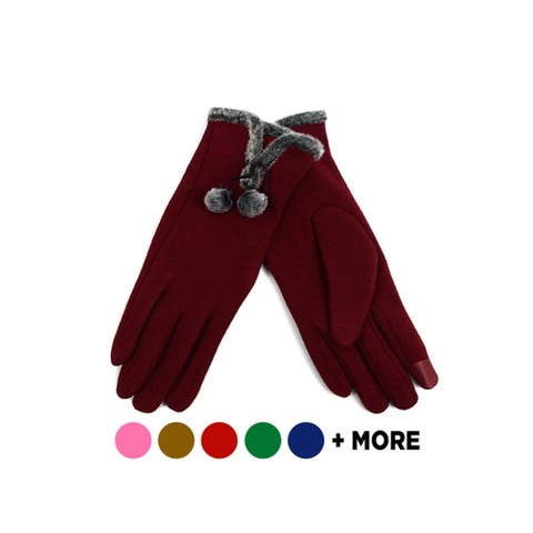 Women's Stylish Touch Screen Gloves with Faux Fur Trim & Fleece Lining