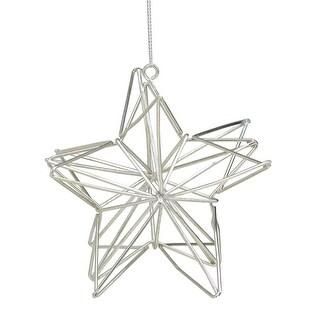 "4.5"" Metallic Silver Geometric Star Christmas Ornament - N/A"