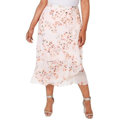 Calvin Klein Womens Plus Midi Skirt Floral Ruffled - Porcelain Rose