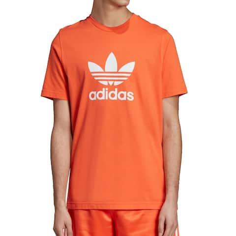 Adidas Mens Orange Size Medium M Trefoil Graphic Crewneck Shirt Tee