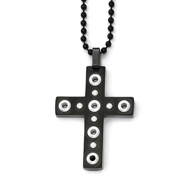 Chisel Stainless Steel Brushed and Polished Black IP-Plated Cross Necklace - 22 in