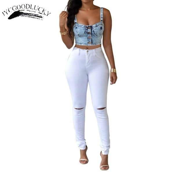 45703b37a6 Ripped Jeans For Women With High Waist 2017 Jeans Woman Slim Tight Skinny  Women Jeans Female