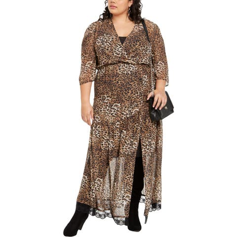 NY Collection Womens Plus Maxi Dress Chiffon Leopard - Black/Brown