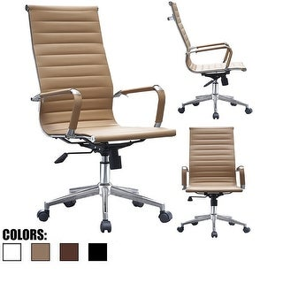 2xhome Tan Executive Ergonomic High Back Modern Office Chair Ribbed PU Leather Swivel for Manager Conference Computer