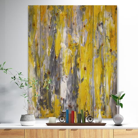 Designart 'Grey and Yellow Abstract Pattern' Abstract Print on Natural Pine Wood