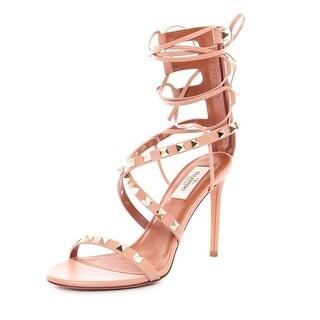 Valentino Rolling Rockstud High-heel Gladiator Pumps Nude Sandals