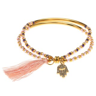Crystal Charm Bracelet with Tassel-Gld/Pink - Exclusive Beadaholique Jewelry Kit
