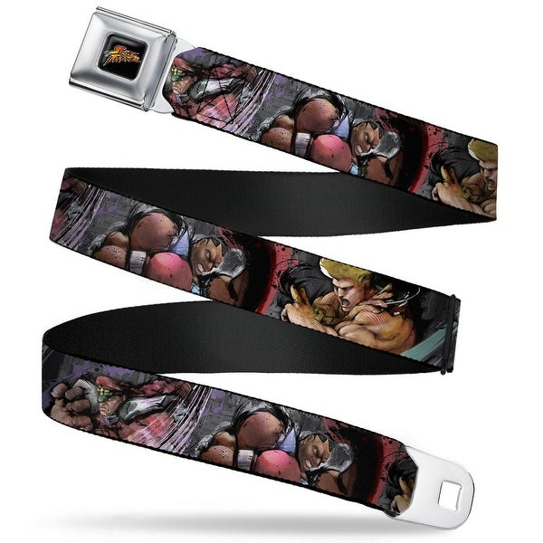 Street Fighter Logo Full Color Black Street Fighter 3 Character Pose Blocks Seatbelt Belt
