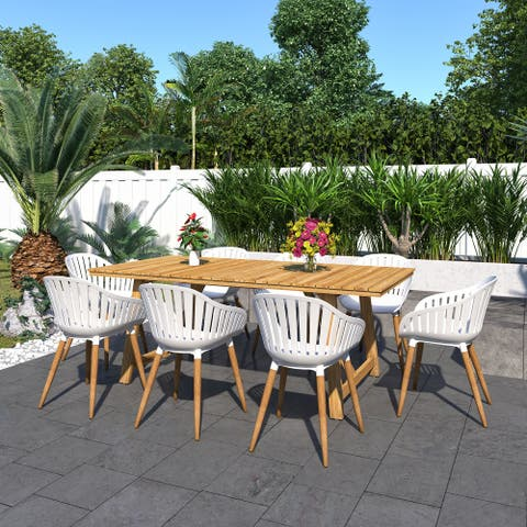 Amazonia Branford 9-Piece Certified Teak Patio Dining set