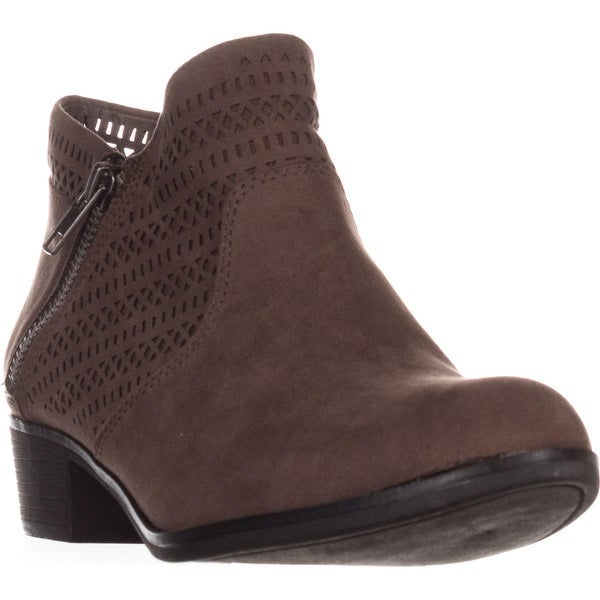 AR35 Abby Side Zip Short Ankle Boots, Taupe Perforated