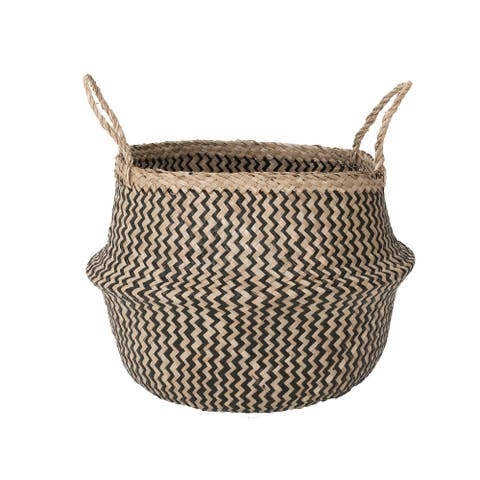 Two Small Black Chevron Baskets