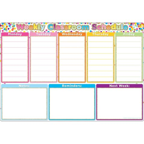 """Smart Poly® Chart Confetti Weekly Schedule, 13"""" x 19"""""""
