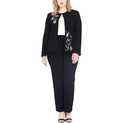 Tahari ASL Womens Plus Pant Suit Embroidered Professional